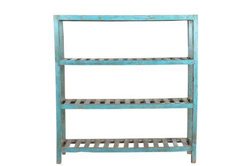Oud houten rek blauw